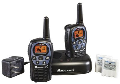 Hunting Water-resistant and durable, this pair of 36-channel radios has a maximum range of 26 miles. Five call alerts notify of incoming calls. Scan for channel activity. High/low battery settings and battery-life extender conserves battery power. Three levels of hands-free eVOX. Accessory jack accommodates headsets. Backlit LCD screen. NOAA weather/hazard alerts. Includes rechargeable batteries, a dual desktop charger and AC adapter. Three-year warranty. - $61.99