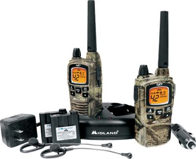 Hunting Made for hunters with a Mossy Oak Break-Up Infinity water-resistant case and a 36-mile range. 42 channels, 20 special channels and 142 privacy codes. Instant weather scan and NOAA weather alerts. Selectable high/medium/low power setting. Battery-life extender. Five-level hands-free eVOX. Easy-to-read backlit LCD. 10 call alerts. Silent and vibrate modes. Roger beep. Auto squelch. Headset jack. Keypad lock. Runs on rechargable batteries only. Includes: Two radios with rechargeable batteries Desktop charger AC adapters Headsets Type: Radios. - $80.88