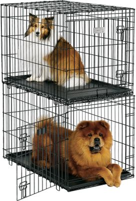 Hunting Crates are specifically designed to be stacked with secure interlocking legs. Tough and easy-to-clean ABS plastic pan can be removed with the door closed. Black epoxy powder-coated panels for long-term use. Slide-bolt latches keep pets secure. Integrated plastic carry handle for convenience. Holds pets weighing from 41 to 70 lbs. Dimensions: 36L x 23W x 24H.Weight: 22 lbs. Color: Black. Type: Pet Crates. - $79.99