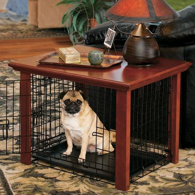 Hunting This elegantly handcrafted crate cover has a durable, cherry hardwood finish, and doubles as an attractive end table to complement your living room or bedroom set. It can also stand freely as a centerpiece to any rooms decor. Its great for smaller rooms with less room for your pets kennel, yet still gives your pet a special place of its own. Three sizes fit over specific iCrate kennels (not included), which allow for proper ventilation and visibility while still protecting the crate cover from wear and tear.Available: 24 Fits over iCrate models 1524, 1524DD and 1324TD. Dimensons: 29L x 22W x 21H. Weight: 20 lbs. 36 Fits over iCrate models 1536, 1536DD and 1336TD. Dimensions: 41L x 27W x 26H. Weight: 35 lbs. 42 Fits over iCrate models 1542, 1542DD, 1342TD, 1642, 1642DD, 1642UL. Dimensins: 48L x 34W x 33H. Weight: 50 lbs. - $124.99
