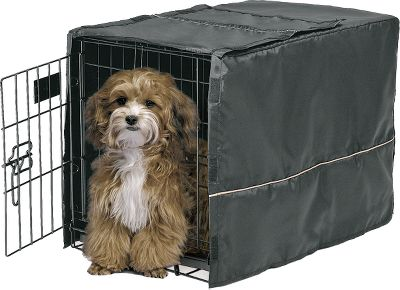 Hunting Provide your pet with a quiet, private sanctuary while traveling or waiting for you at home. This easy-to-use crate cover slips over the top of most dog crates to create a relaxing and comfortable environment. The cover offers proper ventilation and can be accessed from multiple sides. It also allows access to the slide-out plastic pan in the crate for easy removal and cleaning. Made of durable, washer- and dryer-safe black polyester. Securely held in place by Velcro tabs. Imported. Sizes: 22 23L x 13.5W x 15H 24 24.5L x 17.5W x 19H 30 30.5L x 20W x 20.5H 36 36L x 23.5W x 24H 42 43L x 30W x 30H 48 48.5L x 31W x 31H Color: Black with Taupe contrast cording. Size: 22. Color: Black with Taupe contrast cording. Type: Crate Covers. - $12.99