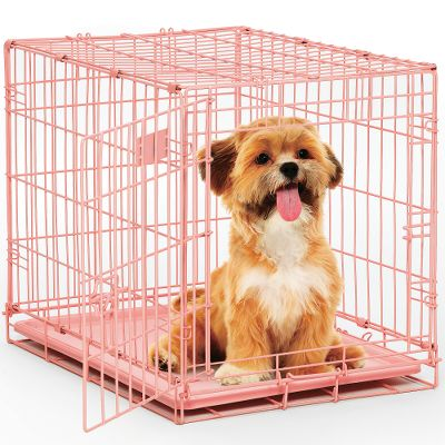 Hunting A compact, portable crate for small dogs and puppies. Divider lets you adjust the crate to your puppys size, cutting down on house-training time by discouraging messes. Grated sides contain your dog without making him feel excluded from the fun. The plastic pan provides a flat surface for a blanket or dog bed, and protects your floor should your dog make a mess. Crate folds flat for storage and has a carry handle for easy transportation. Frame is powder-coated for durability. One-year manufacturers limited warranty. Dimensions: 24L x 18W x 19H. Weight: 14 lbs. Colors: Pink, Blue. Color: Blue. Type: Pet Crates. - $39.99