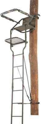 "Hunting Sure to be popular with budget-minded hunters who want an affordable ladder stand loaded with Millennium's top features. The stand is quiet and easy to set up. Strong, welded-steel construction has a durable powder-coated finish. ComfortTech contoured, tight sling seat enhances comfort. Adjustable padded shooting rail and armrests. Imported. Stand is tested to TMA standards and includes a full-body safety harness with Suspension Relief System (SRS). Manufacturer's lifetime warranty.Seat height: 16"". Platform size: 20""L x 19""D. Height: 16 ft. to the shooting rest. Weight: 55 lbs. Weight capacity: 300 lbs. A Video Public Service Announcement from theTREESTAND MANUFACTURERS ASSOCIATION - $199.88"