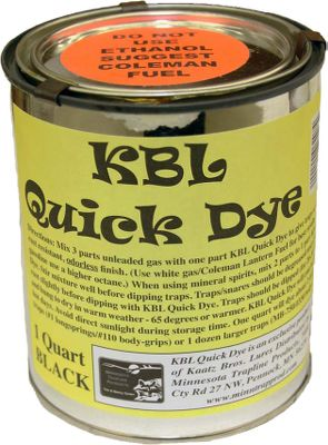 Hunting This cold-dip dye protects your traps and other steel equipment from the elements by forming a protective coating on the steel. Mix 1 quart dip to 2 quarts mineral spirits for best results. Per quart. Color: Black. - $14.99