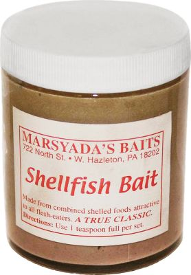 Fishing Marsyadas lures and baits are known for their outstanding performance and ability to attract multiple furbearers. Made with only high-quality ingredients, this bait increases the attraction power of your sets. Size: 6-oz. jar. Available: Shellfish Bait - Excellent choice for raccoon, mink, fox and various other predators. Contains strong shellfish oils that pull furbearers from a distance. Coon Bait - Raccoons find this sweet-smelling, sticky paste bait irresistible. Type: Baits & Lures. - $6.99
