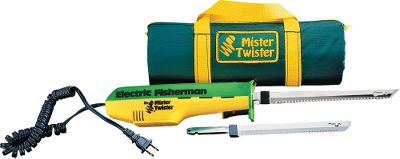 Fishing When you need to fillet fish, count on the Mister Twister Electric Fisherman. Mister Twister has heavy duty gears and bearings for more power and cutting torque, and the serrated, double-action blades are super-sharp stainless steel for precise and easy filleting. You also get quick blade release and a positive safety button. These 110-volt knives have a high-impact motor housing and a handy recoil cord, and the relaxed hand design gives you good control. Knife draws 1.2 amps. Combo Kit Includes: 7 and 9 blade, a convenient zippered carrying case and instructions Color: Green. Type: Knives. - $44.99