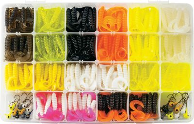 Fishing These strike-enticing curly tail baits work on all game fish. Kit includes: 10 each of 1/4 oz. and 1/8 oz. jigheads 110 4 Curly Tails in 11 colors 220 3 Curly Tails in 11 colors One 3700-size utility box Size: CURLY TAIL KIT. Type: Kits. - $33.88