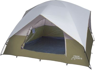 Camp and Hike Three, wide 48 windows give you a beautiful view of your surroundings when the zippered storm flaps are open, but keep you protected from insects, thanks to No-See-Um mesh screens. Four additional roof windows provide added ventilation, and a wide D-shaped front door makes entry and exit easy. Made of tough polyester taffeta with a rugged polyethylene floor, this tent will last you season after season. The strong 11mm shock-corded fiberglass poles are easy to slide through, and setup is a breeze with ring-and-pin-pole assembly. Sewn-in pockets and a gear loft easily store flashlights, headlamps and more. Includes a taped-seam rain fly, stakes, storage bag and instructions. Meets CPAI-84 fire-retardant regulations. Imported.Sleeping capacity: 6. Center height: 6. Floor size: 10 x 10. Weight: 16 lbs.Color: White/Brown. - $169.99