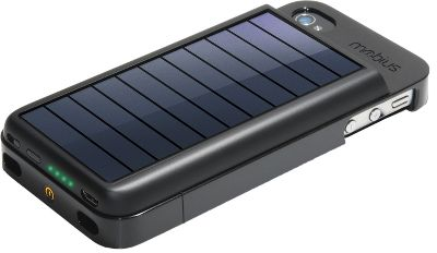 Camp and Hike Go green and charge your iPhone 4 or 4s using solar power. This high-efficiency monocrystal solar panel contains a rechargeable lithium-ion battery pack. You wont have to worry about running out of cell-phone power when camping or in a place where access to electricity is limited. Its unique proprietary design easily snaps over your iPhone and affords protection for your phone while you insert and remove it for charging. A USB connection lets you charge your phone and sync with iTunes. The sun charges the battery inside the solar panel, then, when you dock your phone to the panel, the unit transfers power to your phone. A standby switch allows you to turn off the power transfer so the solar-panel battery can store more power.Weight: 3.4 oz.Dimensions: 5.1H x 2.44W x 7/8D. - $47.99