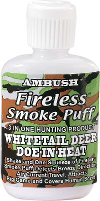 Hunting Squeeze to release a puff of smoke to confirm the wind and attract bucks with the scent of a doe in heat. 1-1/2 oz. Type: Wind Indicators. - $4.99