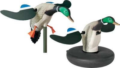 Hunting Cover the air, land and water with this money-saving, Cabelas-exclusive combo pack. Includes one drake mallard Mojo Floater and one drake mallard Baby Mojo, providing you with spinning-wing decoys no matter where you hunt. Floater comes with snap-on, buoyant base, allowing you to hunt deep water and giving the decoy realistic motion. Baby Mojo has 4-ft. pole for use on land or in water. Includes two 6-volt, rechargeable batteries and one charger. - $169.99