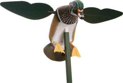 Hunting Mojos popular drake wood-duck decoy boasts a realistic body and spinning wings that easily draw ducks from a distance. Includes mounting peg and three-piece support pole. Direct-drive system runs up to 16 hours on four AA batteries (not included). - $69.99