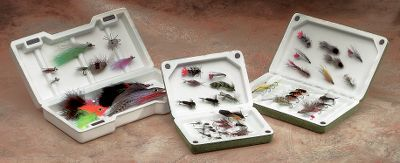 "Flyfishing Constructed entirely of high-tech, multi-density foams, these rugged, lightweight fly boxes not only float, they're also shatterproof. The boxes close and stay closed utilizing four tight-fitting, non-rusting magnets. Available in standard, large and saltwater versions. (A) Standard: 4-7/8""L x 3-3/8""W x 1-1/4""D(B) Large: 6-1/2""L x 4""W x 1-3/8""D(C) Saltwater: 8-1/2""L x 4-1/4""W x 2""D - $6.88"