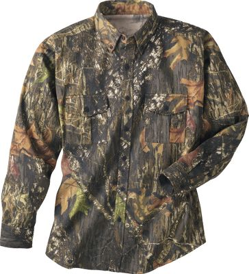 Hunting Durable and breathable, this shirt is made of 6.8oz CVC brushed twill poly/cotton fabric that boasts a long wear life with a brushed finish to keep your movements quiet. Dual chest pockets with flap-button closures and adjustable cuffs. Imported. Sizes: M-2XL. Camo pattern: Mossy Oak New Break-Up. Size: L. Color: Mossy Oak New Brk-Up. Gender: Male. Age Group: Adult. Material: Cotton. - $14.88