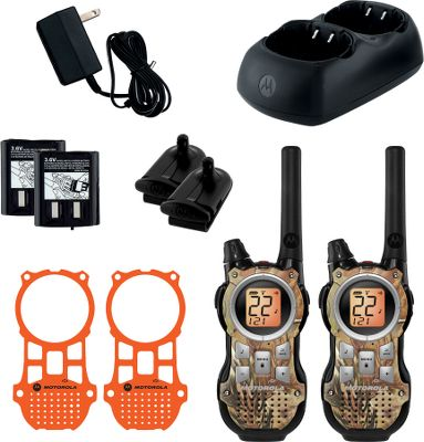 Fitness Offers hunter-focused versatility with Blaze and Realtree APG interchangeable faceplates, five animal call tones and five regular tones. Also includes earbuds with PTT microphones. 22 channels plus eight repeater channels (each have 121 privacy codes). Emergency alert button and LED flashlight. PTT Power Boost. VibraCall vibrating alert. iVOX hands-free communication. QT interruption filter. Backlit display. LCD battery meter. Audible low-battery alert. Battery-save feature. Time-out timer. Keypad lock. Mini USB charging port. Monitor function. Auto squelch. Roger beep. Nuisance delete. Accessory jack. Dual-power compatible for two AA alkaline (27-hour run time, not included) or NiMH batteries (nine-hour run time).Includes:Two radiosDual drop-in chargersCharging adapterTwo NiMH battery packs - $59.88