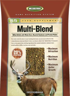 Hunting Moultrie supplements do more than attract deer they provide protein, vitamins and minerals required for healthy deer and trophy-buck potential. 6-lb. bags.Available:Acorn Blend - Real crushed white oak and red oak acorns are combined with rice bran and soybean meal. 20% protein, 7% fat, 6% fiber, 1.1% calcium, .8% phosphorus.Alfalfa Blend - Enjoy the attraction and nutrition of alfalfa without plowing or seeding. 20% protein, 6% fat, 8% fiber, 2% calcium, .6% phosphorus.Multi Blend - A high-powered deer buffet of roasted soybeans, soybean meal, protein pellets, alfalfa, rice bran, corn and oats. 20% protein, 11% fat, 8.1% fiber, .6% calcium, .8% phosphorus. - $6.88