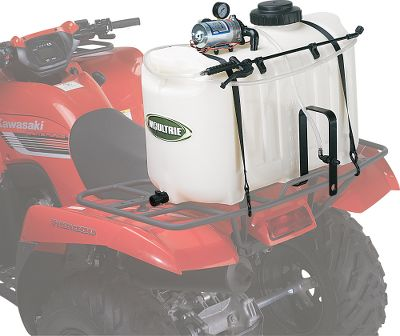 "Hunting Designed to fit ATVs and other utility vehicles, this agricultural sprayer gives you an effective solution for maintaining your farm, yard or hunting property. With greater maneuverability for applying agricultural products, this 10' coverage boomless ATV sprayer allows you to cover tree rows, fence lines and ditches without added hassle. Includes a spray wand with 12' hose for times when the boomless sprayer won't fit the job. The sprayer has a chemical-resistant, 25-gallon polyethylene tank that gives you maximum capacity. It also has a 12-volt Shurflo 1.8 gpm/60 psi pump with a pressure gauge, Viton valves and Santoprene diaphragms. The sprayer is constructed of heavy-duty, corrosion-resistant valves and fittings and long-life industrial hoses. Powered by a wired remote control that plugs into your vehicle's DC outlet. Tank drain valve and pump strainer for safe clean-up. Easy ""Set On/Lift Off"" design. Tie-downs not included. - $119.88"