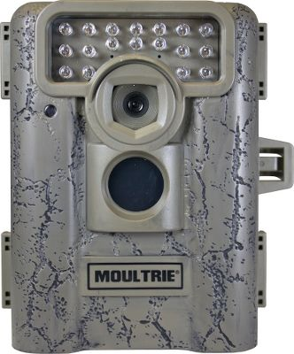 Hunting Extremely affordable with the quality and performance you expect from Moultrie. The 7MP infrared camera has four modes that allow you to capture photos and video, day or night, up to 70 feet out. Motion-freeze blur reduction produces clearer pictures for easier game identification. 30-second, one- to 30-minute picture delay settings let you capture time-lapse photos for a better idea of game routines and periods of activity. Every photo can be imprinted with moon phase, temperature, time, date and camera ID for added accuracy. Password protected for peace of mind. SDmemory-card slot accepts up to 32 GB-storage card (not included). Runs on six C batteries (not included). Camo casing. Dimensions: 6H x 4.5W x 3.5D. Color: Camo. - $89.88