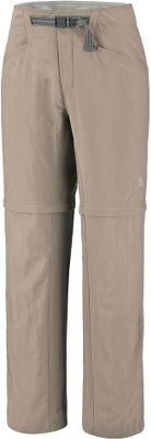 "Get on the trail with these convertible pants simply unzip the legs to go from pants to shorts. Micro-Chamois -lined , conical-shape waist gives you a nonbinding, comfortable fit while wearing a backpack. Inseam gusset and articulated knees offer freedom of movement. Integrated webbing belt with buckle closure for easy fit adjustments. Mesh drain panels in pockets for quick-drying action. Lots of pockets for storage. Side zippers on hem fit easily over boots. UPF rating of 50. 100% nylon Canyon Cloth with a durable water-repellent finish. Relaxed fit. Imported. Pants inseam: 32"". Shorts inseam: 9"". Even sizes: 4-16. Colors: Grill, Khaki. - $34.88"