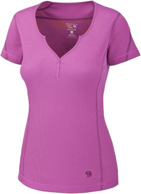 A technical tee that features a stylish split neckline and a shape-flattering semifitted cut. Dri-release technology offers the quick-drying, moisture-wicking performance of polyester with the softness and comfort of cotton. Made of 85/15 polyester/cotton, its 2x2 Locator Pass rib-knit body offers shape-holding stretch. Detailed with a water-based placement print for no-feel comfort. Flatlock seams eliminate chafing. Imported. Sizes: S-XL. Colors: Greenery, Oasis Blue, Dewberry. - $29.88