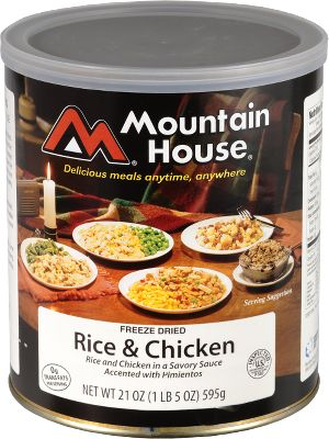 Camp and Hike You never know when an emergency will strike and leave you without usual means of food storage and preparation. Just add water to these freeze-dried Mountain House Foods and you have 10 servings (12 with Noodles Chicken) to feed your family and others. 25-year shelf life. Available: Rice Chicken, Scrambled Eggs with Bacon, Chili Mac with Beef, Chicken Teriyaki with Rice, Chicken A La King and Noodles, Granola with Milk and Blueberries, Spaghetti with Meat and Sauce, Beef Stew, Beef Stroganoff with Noodles, Lasagna with Meat Sauce, Noodles Chicken. - $24.99