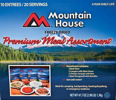 Camp and Hike Freeze-dried Mountain House meals have been the choice for emergency preparedness and recreational activities like camping, hiking, backpacking and hunting for more than 30 years. All you have to do is add water to create a tastes-like-home meal. Ten-year shelf life makes them ideal for long-term storage. Made in USA. Assortment contains: (2) Beef Stew (2) Lasagna with Meat Sauce (3) Chicken Teriyaki with Rice (3) Beef Stroganoff Gender: Male. Age Group: Adult. - $55.88