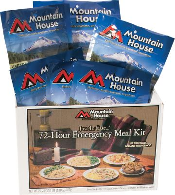 Camp and Hike Stay prepared for any emergency with this 72-hour meal kit. It includes nine adult-sized, single-serving, freeze-dried meals to cover breakfast, lunch and dinner for three days. Ten-year shelf life makes them ideal for long-term storage. Lunch and dinner meals include:beef stroganoff, per 2; chicken teriyaki, per 2; pasta primavera, per 1; and rice and chicken, per 1 (all entrees are 20 oz.). Breakfast meals include: eggs and bacon, per 2; and granola with blueberries, per 1 (all breakfast meals are 8 oz.). Prepare with hot water or cold water in an emergency. - $62.49