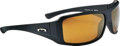 Entertainment Sleek lines, a sporty fit and oversized wrap coverage make the Powerline sunglasses a classic, outdoor standard. The polarized lenses filter out 99.9% of reflective glare and block 100% of UVA, UVB and UVC rays. Anti-reflective coating on the inside of the lens reduces reflection from behind. Advanced Hydroglare coating repels water, dust, oil and enhances lens durability. Impact resistant to ANSI Z80.3 standards. Size: M/L.Available: Blue Lenses/Black Frames, Gold Lenses/Black Frames. Type: Polarized. Gender: Men's. Lens Color Blue. Style Black Frame. - $39.99