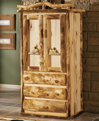Entertainment The character and rich, natural hues of 100% pure Rocky Mountain Aspen gives armoire a look thats as rustic as it is elegant. Each handcrafted piece in this spectacular set bears natures own markings, so no two are exactly alike. Its hand-sanded, kiln-dried and finished with a protective layer of beeswax, linseed oil and other organic materials. Surfaces that are likely to get wet are also finished with an extra layer of waterproof polyurethane. Armoire can be used as a television or clothes cabinet. Made in USA. Dimensions: 40 x 76 x 22. Available: Rounded Half-Log Fronts*. * = Quickship item. (Quick Ship items will be delivered within 3-5 weeks upon receipt of order.). Note:Dimensions are approximate due to slight inherent variations in lumber. Color: Natural. - $2,099.99