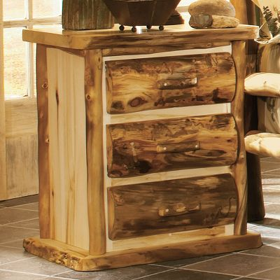Entertainment The character and rich, natural hues of 100% pure Rocky Mountain Aspen gives this 3-drawer night stand a look thats as rustic as it is elegant. Each handcrafted piece in this spectacular set bears natures own markings, so no two are exactly alike. Theyre all hand-sanded, kiln-dried and finished with a protective layer of beeswax, linseed oil and other organic materials. Surfaces that are likely to get wet are also finished with an extra layer of waterproof polyurethane. Made in USA. Dimensions: 28 x 21 x 33. Available: Flat Drawer Fronts, Rounded Half-Log Fronts*. * = Quickship item. (Quick Ship items will be delivered within 3-5 weeks upon receipt of order.) Note:Dimensions are approximate due to slight inherent variations in lumber. Color: Natural. Type: Nightstands. - $949.99