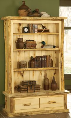 Entertainment Meticulously handcrafted to capture the woods unique rustic hues, each of these handsome pieces releases the beauty of the outdoors inside your home, office, cabin or lodge. The beautifully trimmed solid-aspen Bookcases feature adjustable shelves. The 3-Shelf Bookcase has two drawers. All pieces are protected from spills with a polyurethane finish. Made in USA. Note:Dimensions are approximate due to slight inherent variations in lumber. Type: Bookcases & Shelves. Style Flat. - $1,399.99