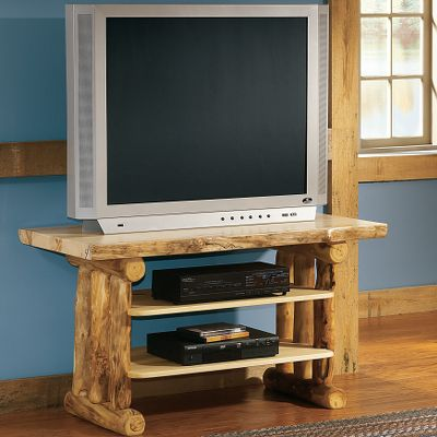 Entertainment Rugged beauty doesnt stop at the timberline. These sturdy and elegantly functional TV Stands proudly display each logs natural edges for the authentic look of dead standing timber. Theses stands have two fixed shelves and storage for electronics, and include four cable ties. The tops are triple-coated with polyurethane for stain and scratch resistance. The bases, sides, drawers and door frames are hand-rubbed with a beeswax-and-linseed oil finish. Every piece is one-of-a-kind, with a unique grain and coloration. Made in USA. Available: 44 TV Stand 24H x 44W x 22D 60 TV Center 24H x 60W x 22D Note:Dimensions are approximate due to slight inherent variations in lumber. Color: Natural. - $699.99