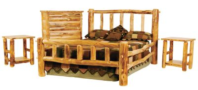 Ski Give your bedroom the look of a five-star mountain resort without the five-star price tag. This value-priced set is meticulously constructed of hand-finished Rocky Mountain aspen logs. Each piece starts with dead-standing aspen trees. By using this natural resource, the skilled craftsmen who build these furnishings are able to bring the serenity of quaint ski lodges, cozy mountain homes and rustic cabins to your home for a tranquility you can enjoy everyday. Skilled artisans peel away the bark from dead standing aspen trees, then hand-sand each to release its inherent beauty. They are then sealed with a polycrylic water-based finish for stain and moisture protection. The all-inclusive set features a majestic bed, two nightstands, and a five-drawer chest. Made in USA. Plateau II Bed Built to fit around a metal bed frame. The dual side rails offer solid support, while the lower rail hides the metal to enhance the overall look. All joints utilize time-tested mortise and tenon construction and each hearty aspen spindle fits snugly into the stringer, creating a sturdy handcrafted log bed. Available: Queen-size 73W x 92L x 52H King-size 92W x 92L x 52H Nightstands These attractive nightstands provide bedside placement for your lamps and books. The lower shelf offers additional storage space. Can do double-duty as end tables. Dimensions: 22W x 22D x 27H. Five-Drawer Chest The drawers are dovetailed for strength and stability. Half-log drawer detail enhances the rustic appeal. Chest is protected with a polycrylic water-based finish for stain and moisture protection. 41W x 22D x 50H. Note: Dimensions are approximate due Color: Natural. Type: Bedroom Sets. - $2,499.99
