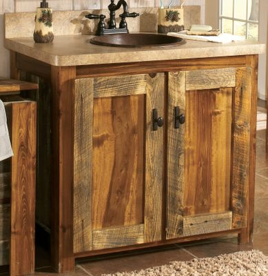 Entertainment Bring a little Old West flavor into your bathroom with the authentic Wyoming Collection. The vanity exudes serene, rustic, uncommon elegance. You can see the craftsmanship in the reclaimed, weathered-wood base. The optional laminate top and backsplash provide superior moisture and wear protection over wood tops. All vanities have a cutaway section for access to plumbing. Doors have bronze, oval pulls with a hammered backplate for a rustic look. 34H x 48W x 23D. With top: 33H x 48W x 22-1/2D. Available: Base Only Base with Laminate Top Base with Laminate Top, Sink and Faucet (predrilled sink and faucet holes) Color: Bronze. Type: Vanities & Sinks. - $1,199.99