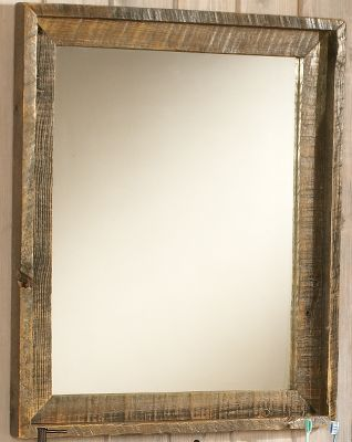 Entertainment Bring a little of the old west flavor into your bathroom with the authentic Wyoming Collection. Highlight your vanity with an attractive, weathered, reclaimed-wood mirror. It has mitered corners and features a subtle outer frame. Sealed for durability and moisture protection, and includes an attached cable for easy hanging. 31H x 26W x 2D. Note: Dimensions are approximate due to slight inherent variations in lumber. - $399.99