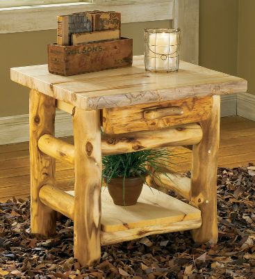 Entertainment The unique character and rich, natural hues of 100% pure Rocky Mountain aspen gives this stunning end table a look thats as rustic as it is elegant. This handcrafted piece bears natures own markings, so no two are exactly alike. Its hand-sanded, kiln-dried and finished with a protective layer of beeswax, linseed oil and other organic materials. Outfitted with a drawer and bottom shelf, this is a handy and sturdy table youll enjoy for years. Made in USA. 24H x 24W x 21D. Note: Dimensions are approximate due to slight inherent variations in lumber. Color: Natural. - $599.99