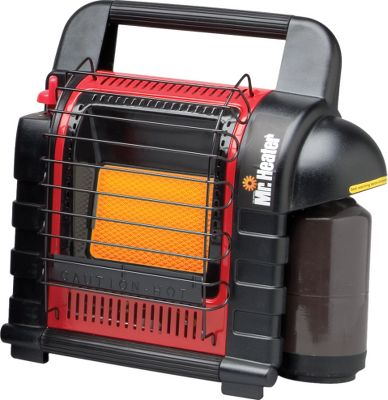 Camp and Hike This handy portable heater is loaded with features youll appreciate. The handle folds for convenient storage. The tank connection swivels outward for easy LP cylinder and hose installation. The larger surface directs radiant heat over a wider area. A ceramic burner and porcelain-coated reflectors spread heat faster. An easy-start button sets at your choice of a 4,000- or 9,000-BTU output. This system automatically shuts off if oxygen falls below a safe level, or if the heater tips over. It uses a 1-lb. propane cylinder for three- to six-hours of heating time; or hook it up to a 20-lb. cylinder with an optional hose connector (cylinders and hose not included) for 48 to 110 hours of heat. Lightweight, portable design packs into even the most remote hunting, fishing and camping areas. New, easy-to-use piezoelectric spark igniter. Imported. Cannot be sold in Massachusetts and Canada. Dimensions: 15H x 13.4W x 7.7D. Wt: 10.6 lbs. Color: Black. Type: Heaters. - $104.99