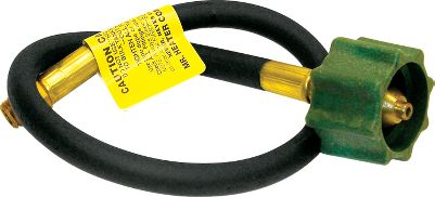 Camp and Hike This durable 20 hose perfectly connects your bulk propane cylinder to a one- or two-stage propane regulator. The tank end has an Acme nut tank connector. The regulator connection has 1/4 male pipe thread. Type: Propane Accessories. - $14.99
