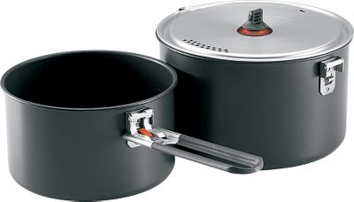 Camp and Hike Pack high-quality cookware into the backcountry while keeping weight to a minimum. Available: Alpine 2 Pot Set This stainless steel cook set for two saves weight and space. Compact nesting design. Includes 1.5-liter pot, 2-liter pot, lid/plate, PanHandler grip and a stuff sack. Weight: 26 oz. Alpinist 2 System Cook Set Serve high-volume meals on the trail. This space-saving set includes a 2.4-liter anodized-aluminum pot with strainer/lid, two polypropylene DeepDish plates, a Talon pot handle and two insulated mugs (not shown). Weight:23.2 oz. Base Two-Pot Set Offers lightweight, nonstick performance in the backcountry. Pack-friendly, compact design with room inside to store mugs and plates. Unit includes a 1.5-liter nonstick aluminum pot, a 2.5-liter nonstick aluminum pot, a strainer Lid, one Talon pot handle and a Packtowl that prevents scratches when nested together. Scratch-resistant, nonstick aluminum surface makes for easy cleaning. Imported. Nested dimensions: 5H x 7.75D. Weight:16.2 oz. Color: Black. Type: Cookware Sets. - $54.99