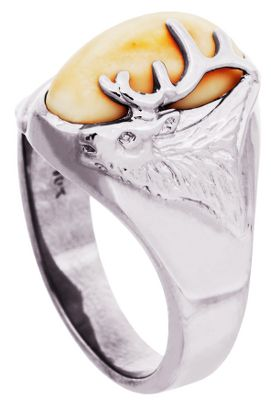 Entertainment The North American elk has a unique pair of canines called buglers, whistlers or tusks. Rare and beautiful, this unique ivory is showcased on this sterling silver ring. A silver elks head with antlers adorns one side of the ivory. Ring measures 1/8 at shank and the top design is 5/8H x 9/16W. Includes a wooden box. Womens whole sizes: 6-10. Size: 10. Color: Silver. Gender: Female. Age Group: Adult. Type: Rings. - $314.99