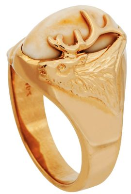 Entertainment The North American elk has a unique pair of canines called buglers, whistlers or tusks. Rare and beautiful, this unique kind of ivory is showcased on this 10-kt. gold ring. A golden and intricately sculpted elk head with antlers adorns one side of the ivory. Ring measures 1/8 at shank and the top design is 5/8H x 9/16W. Includes a wooden box. Made in USA. Womens whole sizes: 6-10. Size: 7. Color: Ivory. Gender: Female. Age Group: Adult. Type: Rings. - $1,124.99