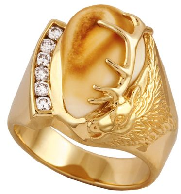 Entertainment Between the intricate elk head with antlers and the bold row of diamonds, a rare piece of elk ivory is prominently displayed. Made of 10-kt. gold, this handsome ring offers six diamonds with a 1/3 ct. total weight. Crafted from the canine tooth of a North American bull elk, the authentic ivory is sure to impress your friends and family. Ring measures 3/16 at shank and the top design is 7/8H x 3/4W. Includes a wooden box. Made in USA. Mens whole sizes: 10-13. Size: 13. Color: Ivory. Gender: Male. Age Group: Adult. Type: Rings. - $2,349.99