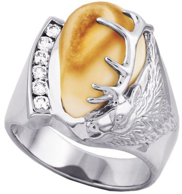 Entertainment Between the intricate elk head with antlers and the bold row of diamonds, a rare piece of elk ivory is prominently displayed. Made of sterling silver, this handsome ring offers six diamonds with a 1/3-ct. total weight Crafted from the canine tooth of a North American bull elk, the authentic ivory is sure to impress. Ring measures 3/16 at shank and the top design is 7/8H x 3/4W. Includes a wooden box. Made in USA. Mens whole sizes: 10-13. Size: 13. Color: Silver. Gender: Male. Age Group: Adult. - $939.99