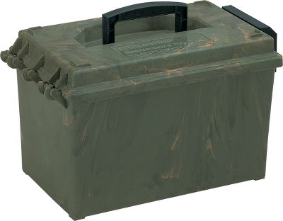 Hunting Keep maps, electronics, calls, shells and other equipment safe with these camouflaged dry boxes. Perfect for in the field or blind use. O-ring lid is water-resistant and seals out moisture. Fold-down latch. Sizes: Large (15-1/2 L x 9 W x 8 H) Extra Large (15-1/2 L x 12 W x 8-1/2 H) Mini Mag (18-1/2 L x 13 W x 10 H) Magnum (18-1/2 L x 13 W x 15 H) Color: Camo. Type: Dry Boxes. - $9.88