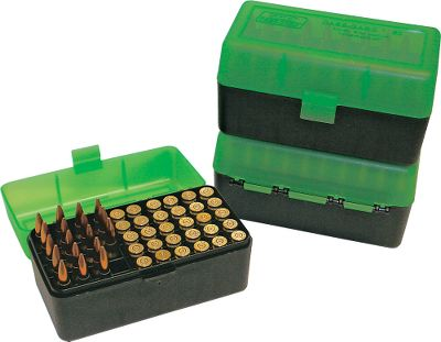 Hunting Constructed of virtually indestructible polypropylene plastic, these boxes are ideal for storing ammunition, organizing your reloads or taking ammo to the range in your shooting bag. Scuff resistant textured surface. Case-Gards famous living hinge is guaranteed for one million open/close cycles. Snap-Lok latch prevents accidental spills. Includes a load label for recording load data. Holds 50 rifle cartridges with mechanical hinge design. Colors: Green/Black, Green(not shown), Blue. Color: Green/Black. Type: 50 Round Rifle. - $3.99