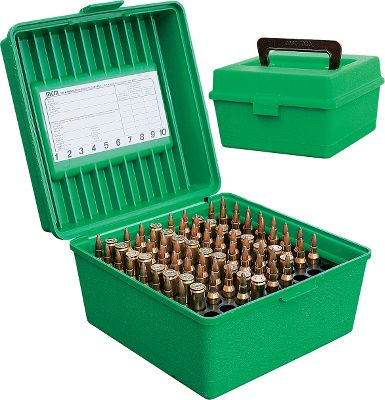 Hunting For big-bore competitors, varmint hunters and others who want 100 rounds handy. Inner tray rotates to two different heights so the Large Rifle Mag can hold cartridges as small as .22-250 all the way up to .375 HH Mag. Cartridges can be stored up or down. When stored down, bullets are protected by special fingers molded into the bottom compartment with scuff resistant textured surface and integral living hinge design. Made from virtually indestructible polypropylene. Fold down handle for easy carrying. Color: Green. Type: 100 Round Rifle. - $12.99