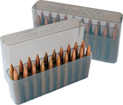 Hunting Constructed of virtually indestructible polypropylene plastic, these boxes are ideal for storing ammunition, organizing your reloads or taking ammo to the range in your shooting bag. This box is ideal for the hunter because it fits comfortably in a shirt or jacket pocket. Ammo is protected from moisture and dust by a slip-top case. Each round is held quietly and securely in individual cavities. Holds 20 rifle cartridges. Color: Smoke. Type: 20 Round Rifle. - $2.99