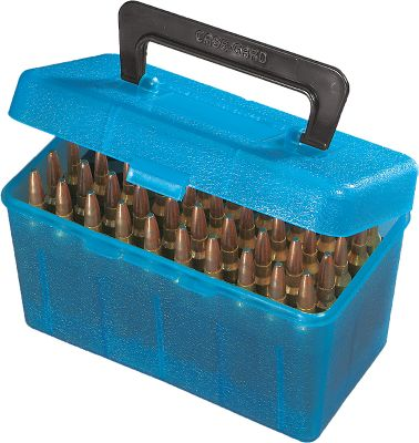 Hunting Houses up to 50 rounds of reloaded or factory ammunition in virtually indestructible polypropylene plastic construction. The unique four-finger holder cradles bullet tips. Scruff resistant textured finish. Integral living hinge desing. Snap lock latch. Includes load label for recording load data. Color: Blue. Type: 50 Round Rifle. - $9.99