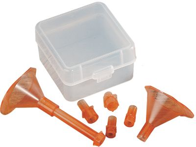 Youll never need to buy another size powder funnel if you have this kit. It includes a small, multi-caliber powder funnel for use from .222 to .45 calibers, an Adapto Powder Funnel for use with a collection of included adapters that accommodate charges for anything from .17-caliber through .50 SW loads and WSM, WSSM and Ultra Mag rifle cartridges. Transparent storage box included. - $14.99