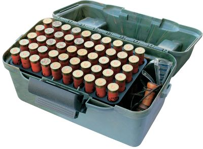 Ruggedly constructed, the Deluxe Shotshell Case keeps an impressive amount of ammo organized, protected and ready. Sized to fit 12- or 20-gauge shells, the two inner shotshell trays secure up to 50 rounds each. Wide spacing between shells accommodates gloved fingers. The durable lid boasts a water-shedding design, two compartments and five load holders. Full-length hinge and lockable latch. Dimensions: 15L x 9W x 8-1/2H. Color: Camo. Color: Camo. - $17.99
